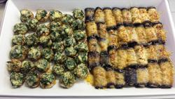 Champignons mit Blattspinat und Biokäse überbacken, Auberginenröllchen mit vegetarischer Fetafüllung