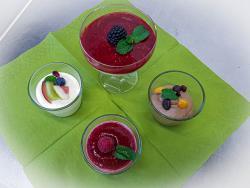 Bayrisch Krem mit Himbeersoße, Mousse au chocolat, Joghurtkrem, bunt garniert
